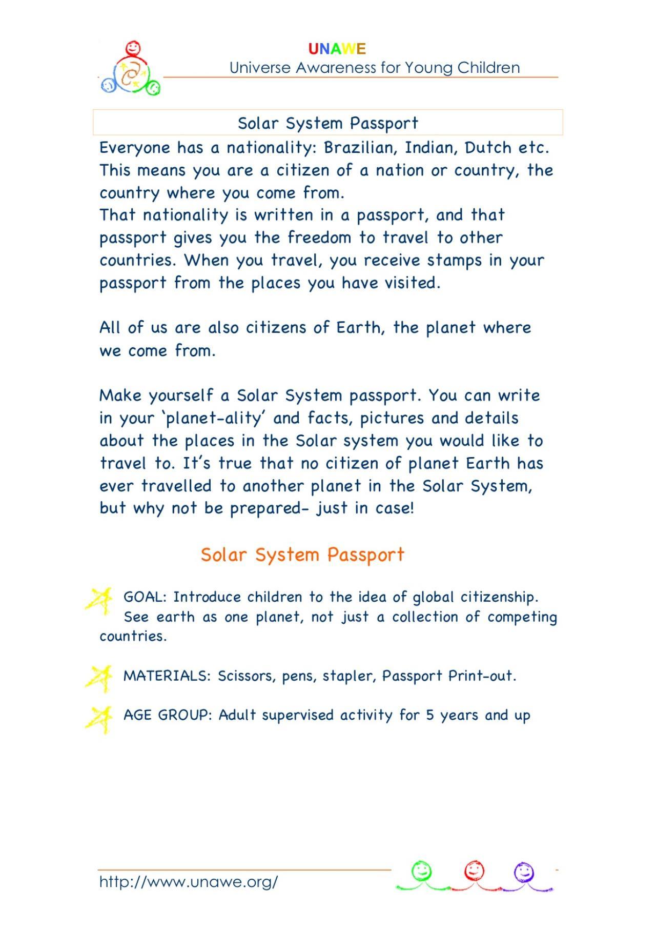 solar system passport activity