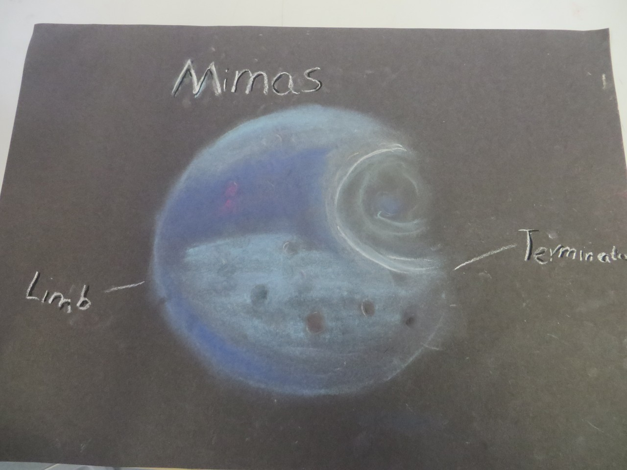 Outstanding drawing of Mimas at Deadly Moons.