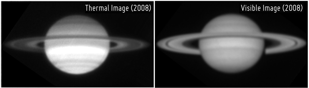 Saturn's rings seen in mid-Infrared (left) and visible light.