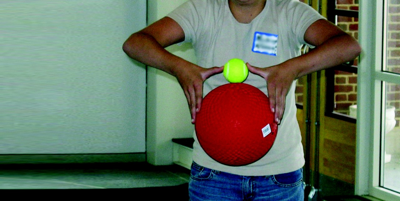 Simple items such as tennis balls can help students visualise differences in size of astronomical objects